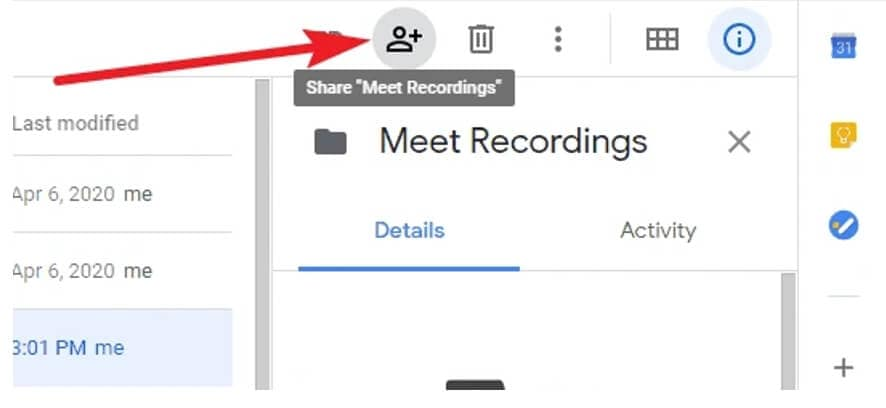 Share Google Meet recordings