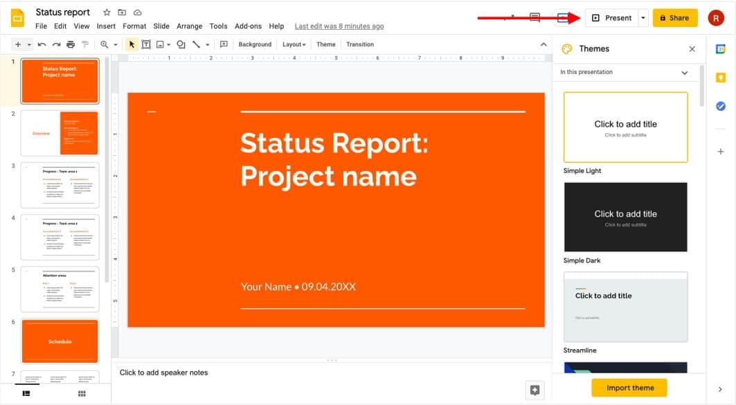 Share slides on Google Meet