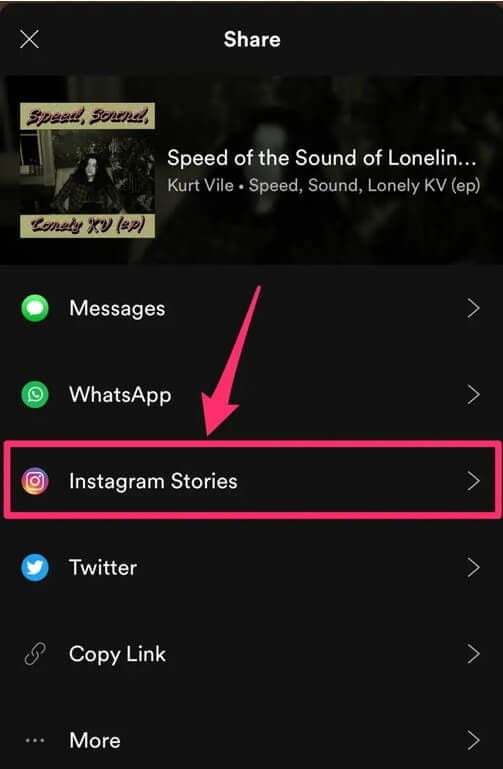 Share Spotify Music to Instagram Story