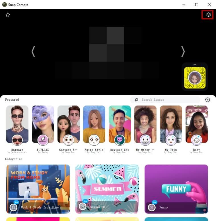 Snap Camera main interface