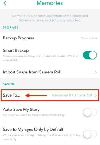snapchat save memory
