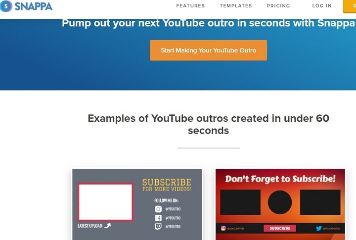 best youtube outro maker interface