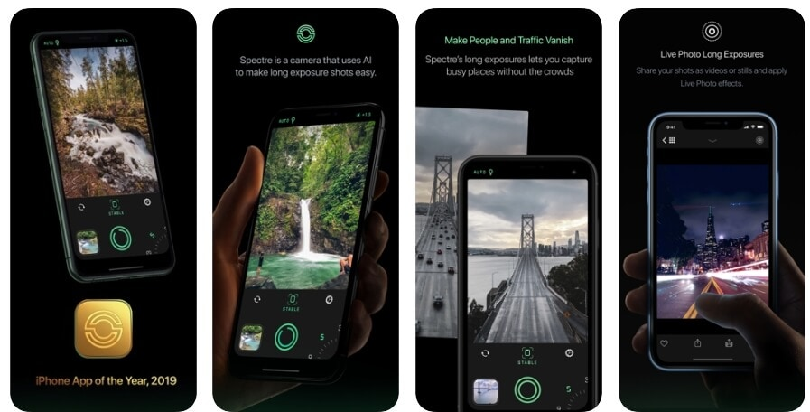Best App of the Year 2019 for iPhone - Spectre Camera