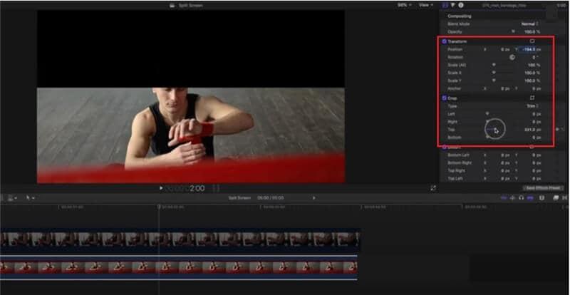 split screen final cut pro position the background clip