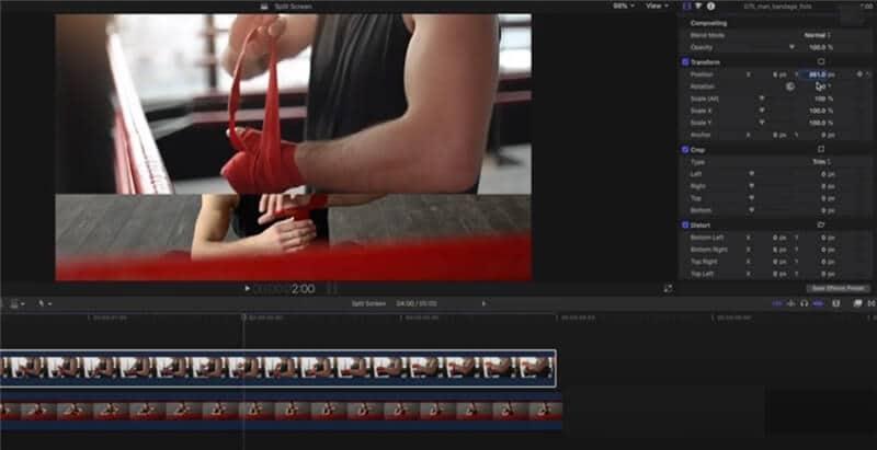 split screen final cut pro position the overlay video