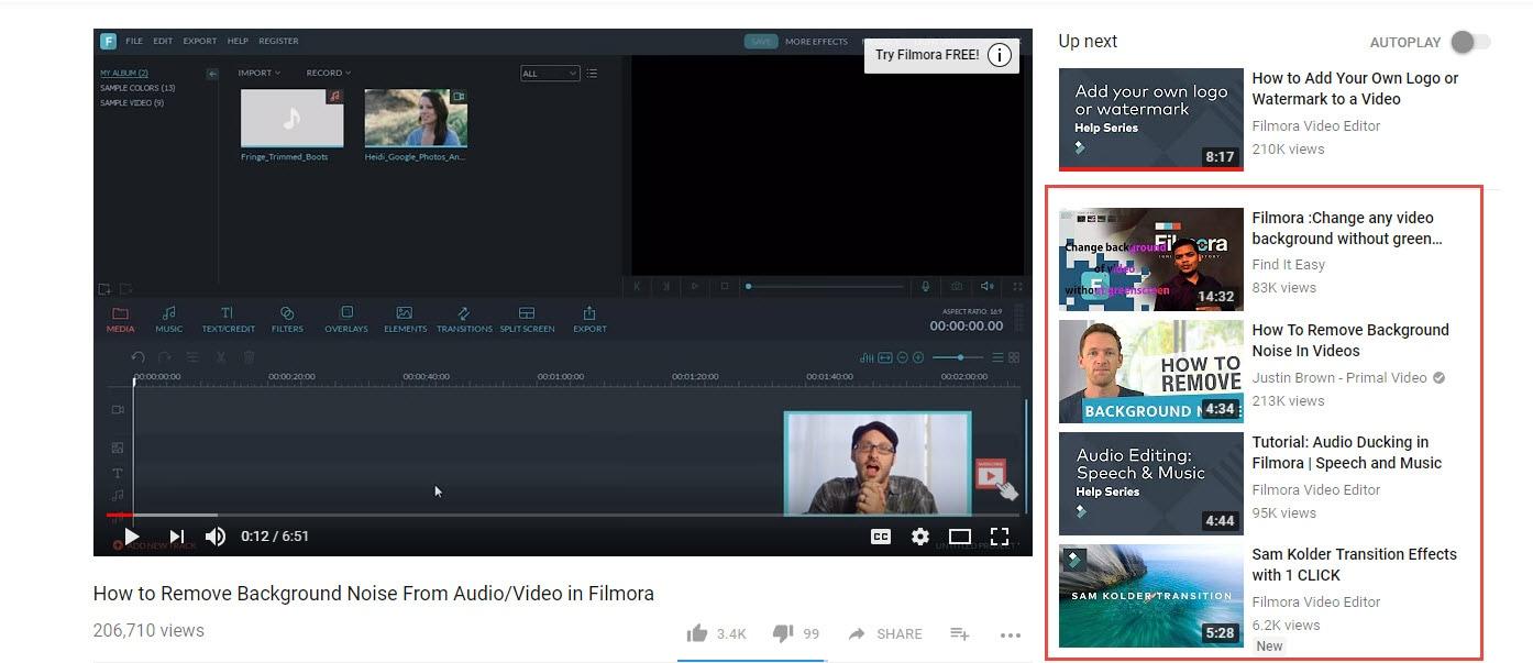 Vídeos sugeridos de YouTube