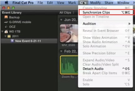Synchronize clips in FCP