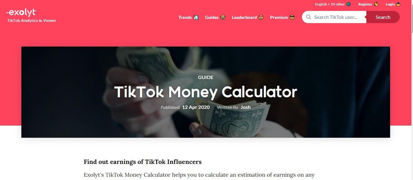 TikTok Earning Calculator