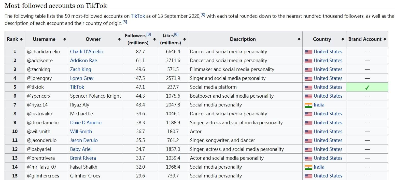 Tiktok Influencer List