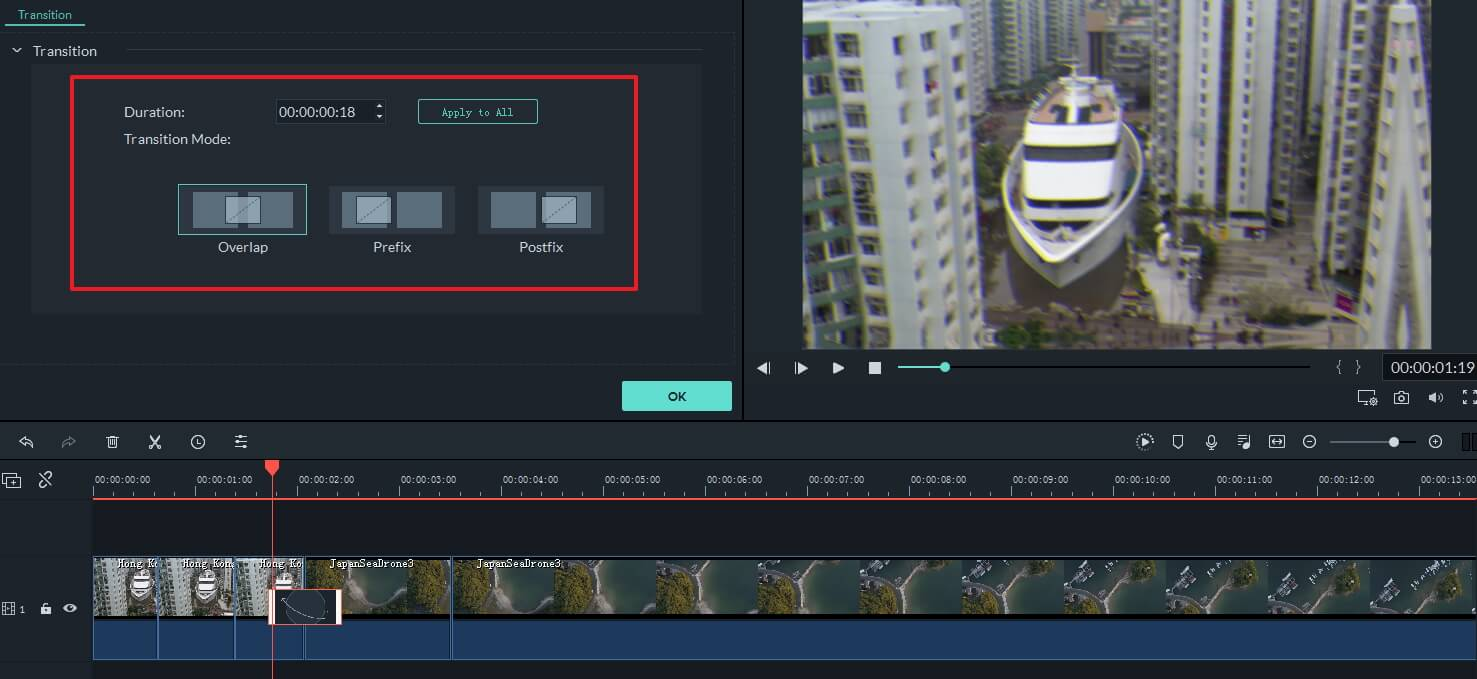 add transition effect to video clips