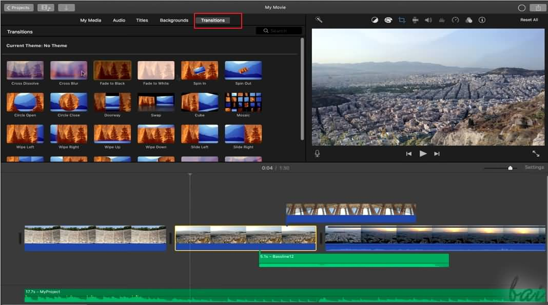 Transitions Imovie