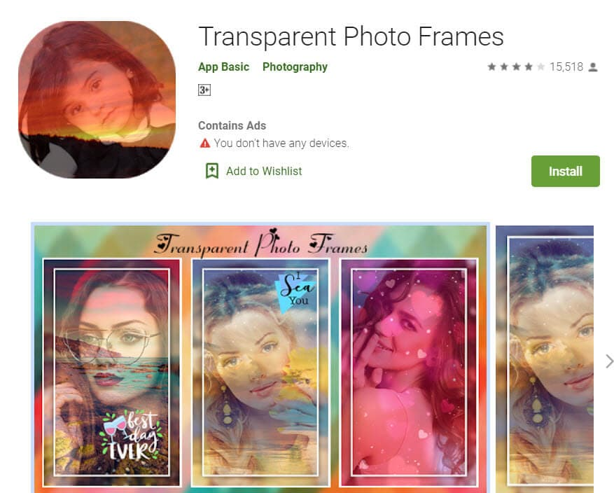 transparent photo frames