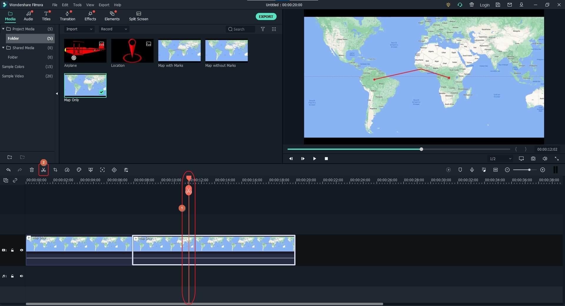 trim animated travel map in Filmora X