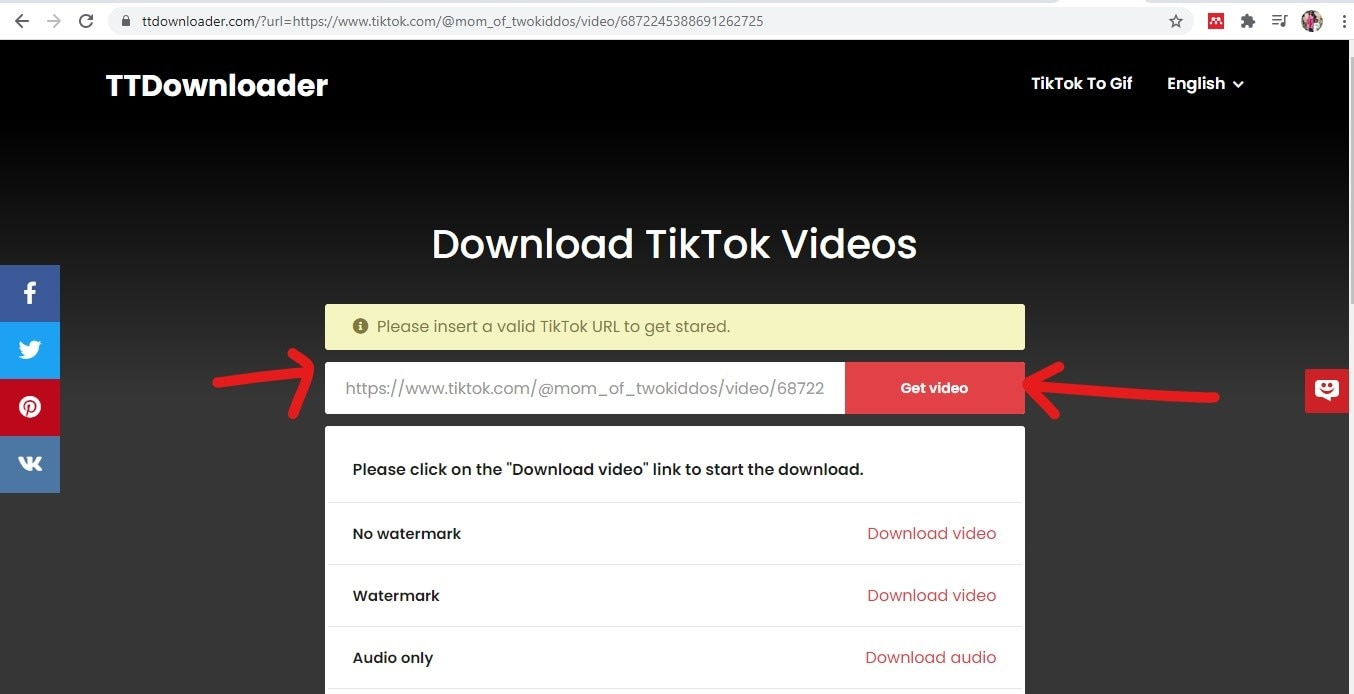 try to download video