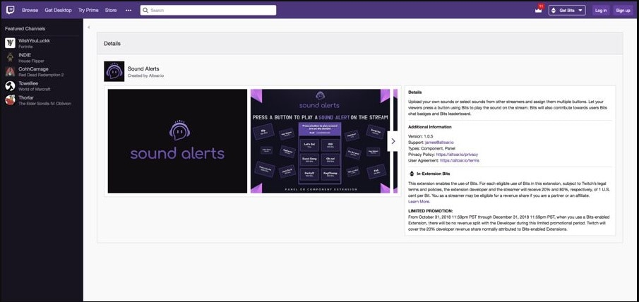 Twitch Extensions Sound