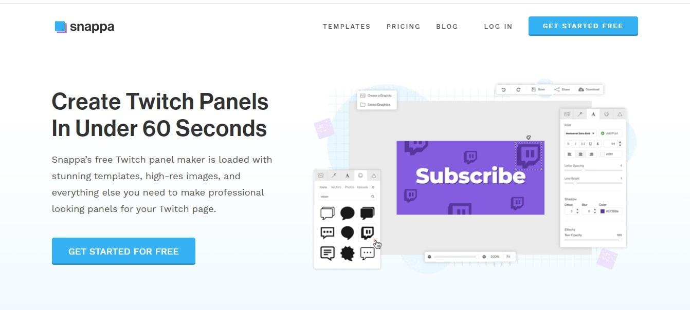 Twitch Panel Maker Snappa
