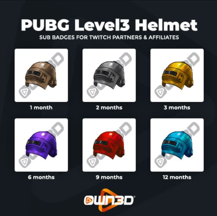 Twitch Sub Badges Helmet
