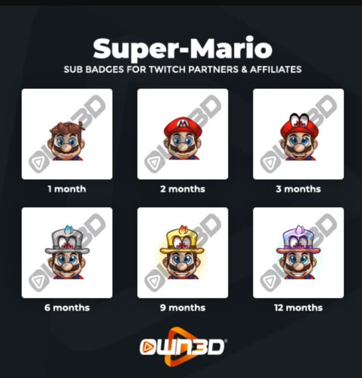 Twitch Sub Badges Mario