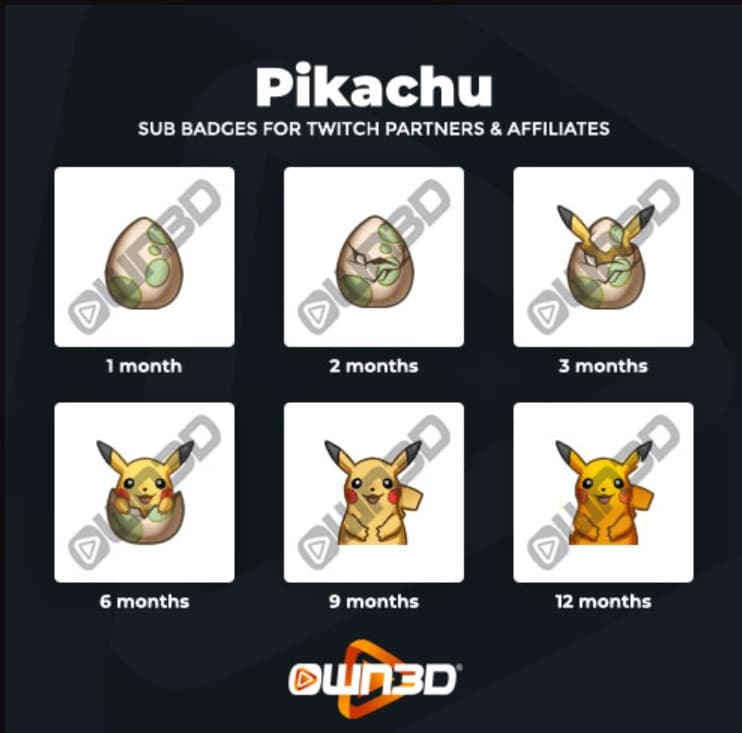 Twitch Sub Badges Pikachu