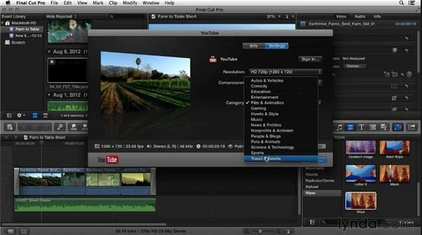 Upload video to YouTube from FCP