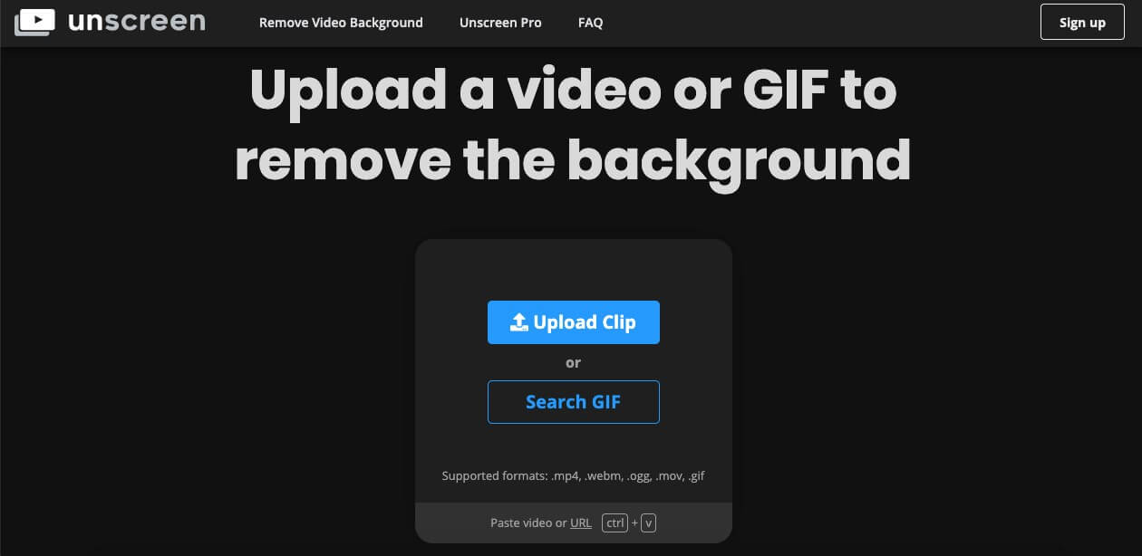 upload unscreen video