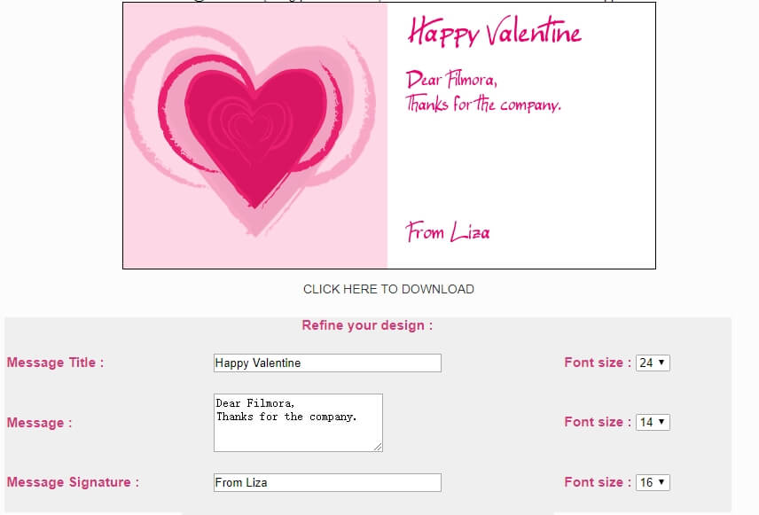 Valentine's Day Card  Maker Interface