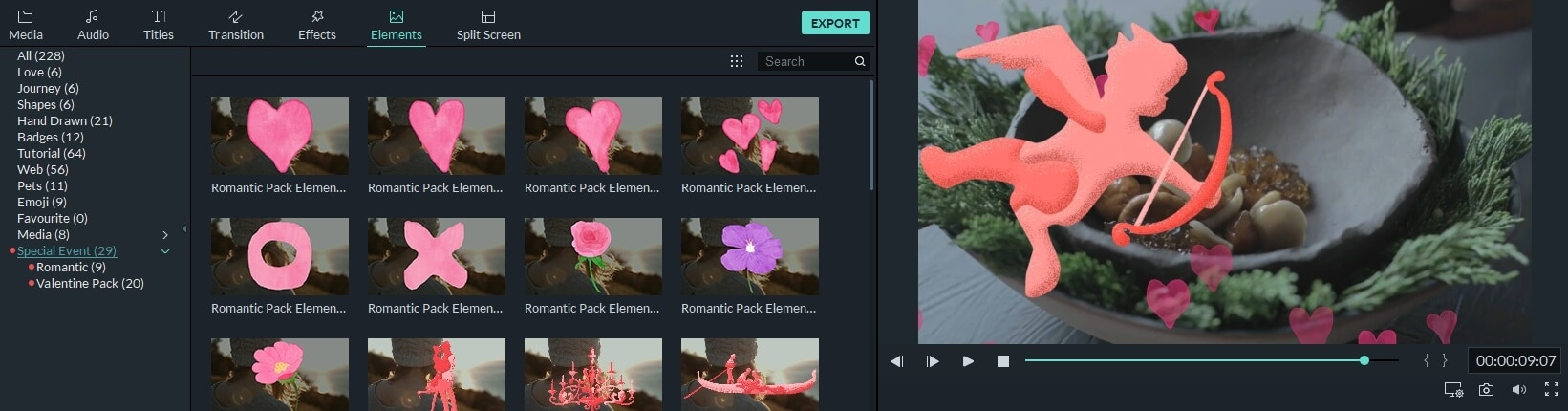 Drag and drop valentines element to video in Filmora9