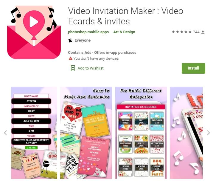 Wedding Invitation Video App for Android