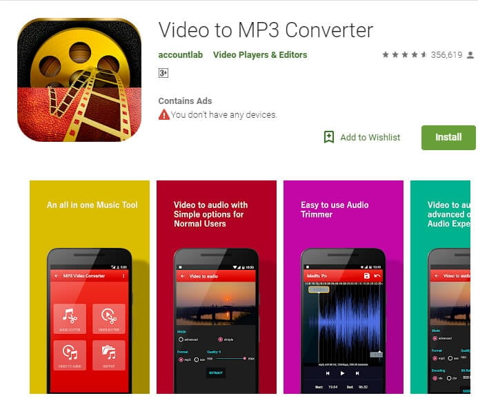MP4 to MP3 Converter app for Android