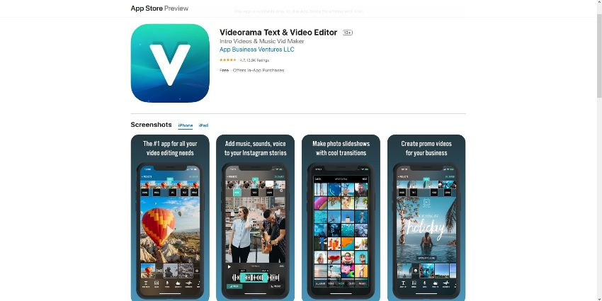 video special effects apps for  iOS - Videorama Text & Video Editor