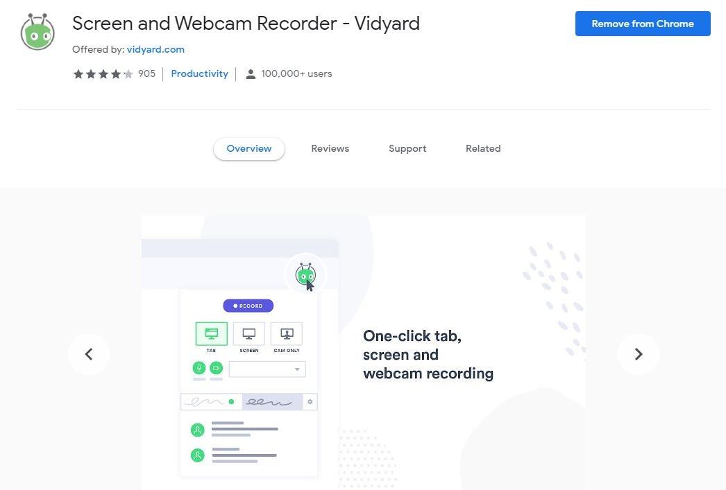 Gravador de tela online Vidyard