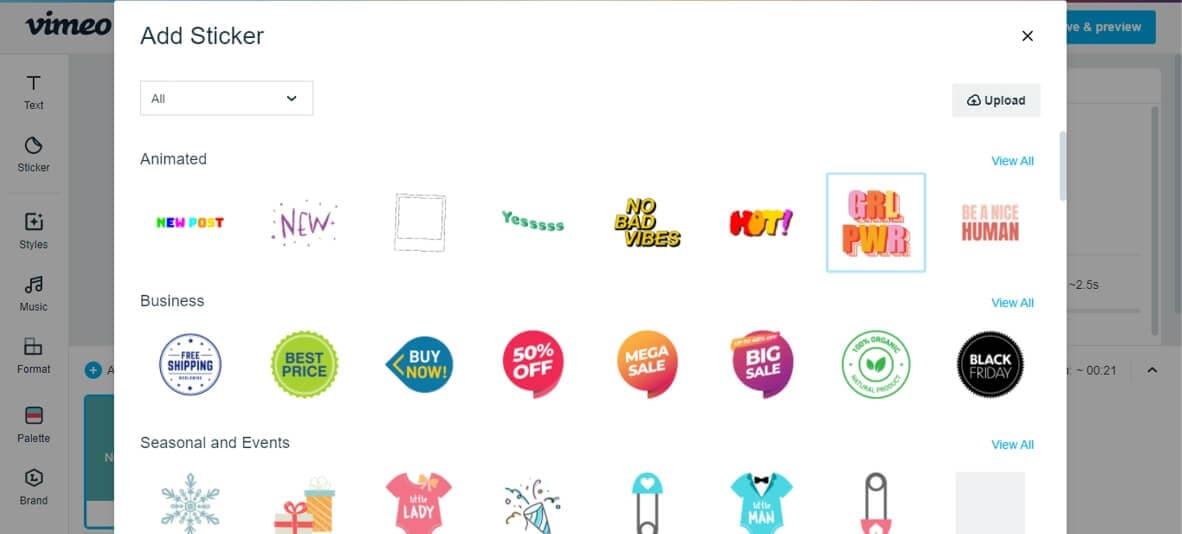 Vimeo Sticker library