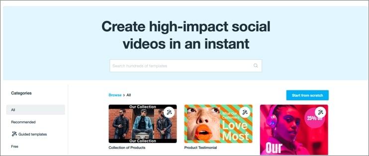 Vimeo Create Main Interfeace