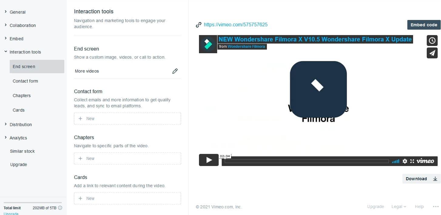 Vimeo end screen options