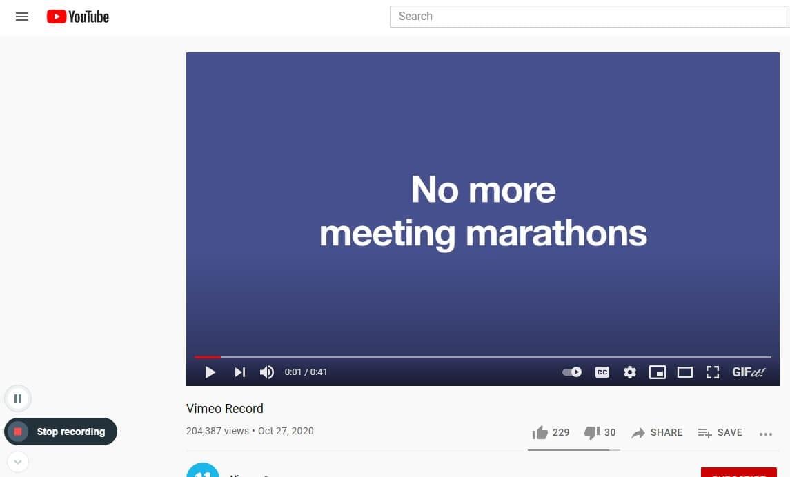 Vimeo Record Extension Stop Recording