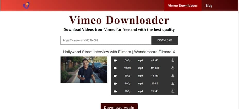 download Vimeo video online with  Vimeo to MP4