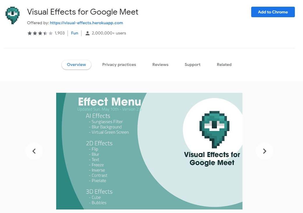 Google Meet extension: Visual Effects for Google Meet