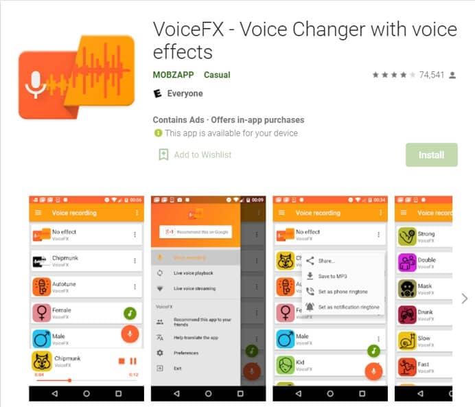 VoiceFX  Voice Changer
