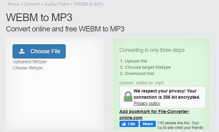 Converta vídeo WebM para MP3 com o File-Converter-Online