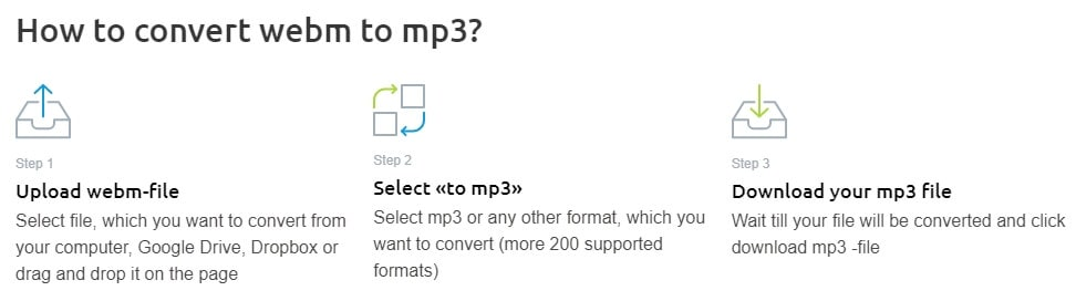 Convert WebM video to MP3 with OnlineConvertFree