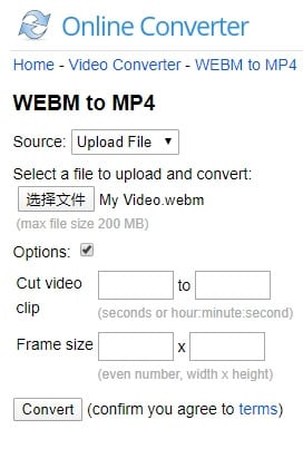 Convert WebM video to MP4 with Online converter