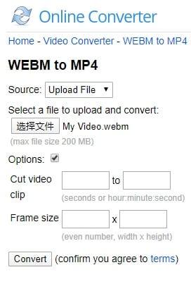 Convert WebM video to MP4 with Online converter