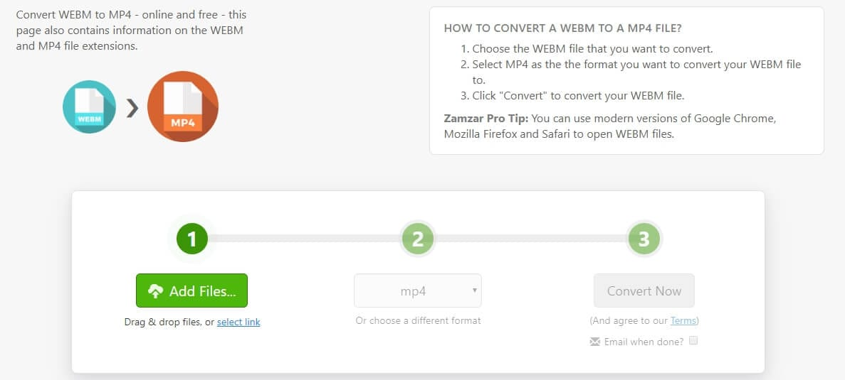 Convert WebM video to MP4 with Convertio