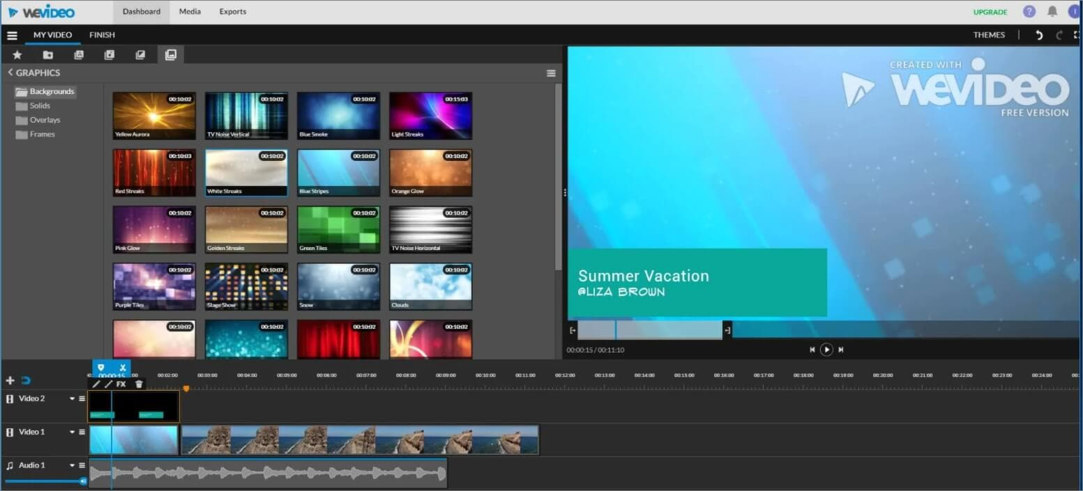 WeVideo Online Video Editor Editing Panel