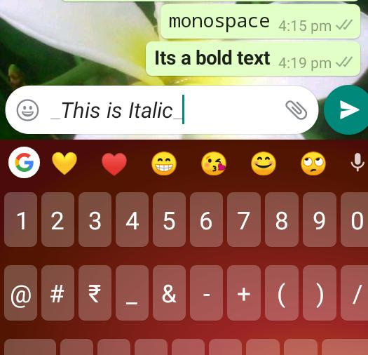 Whatsapp Text Tricks Italic