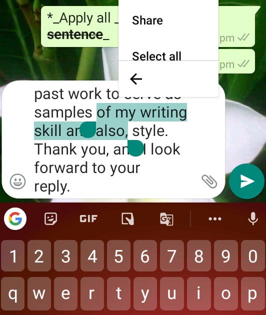 Whatsapp Typing Trick