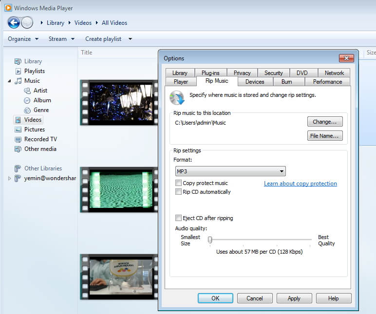 Windows Media Player Save MP4 as MP3