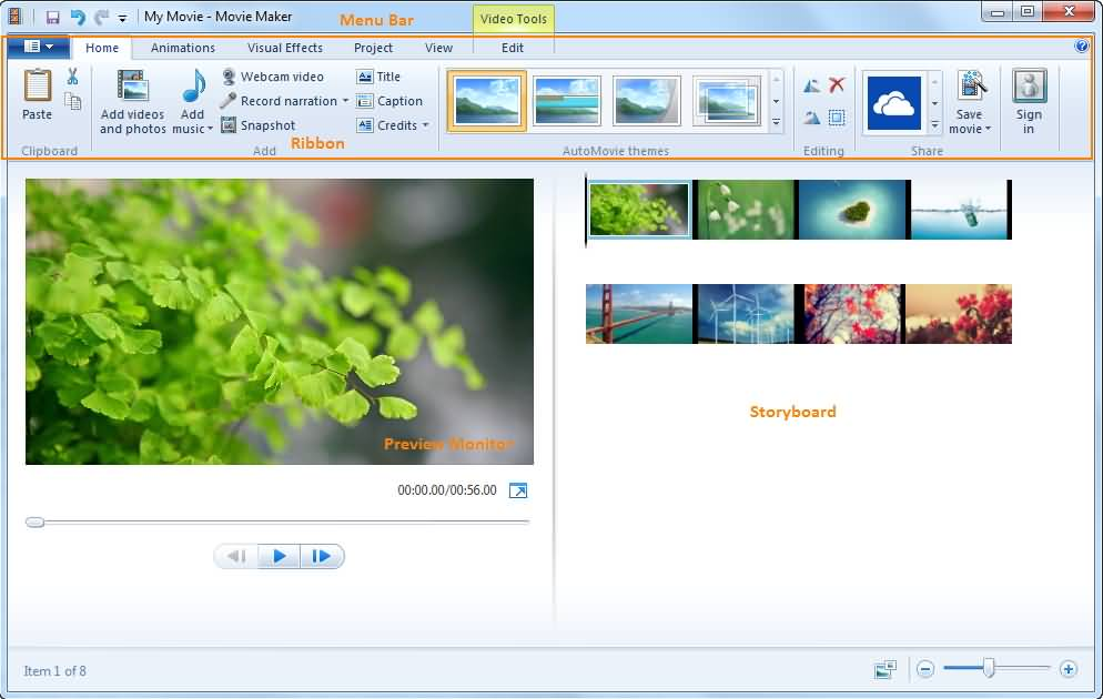 videoeditor für facebook Windows Movie Maker