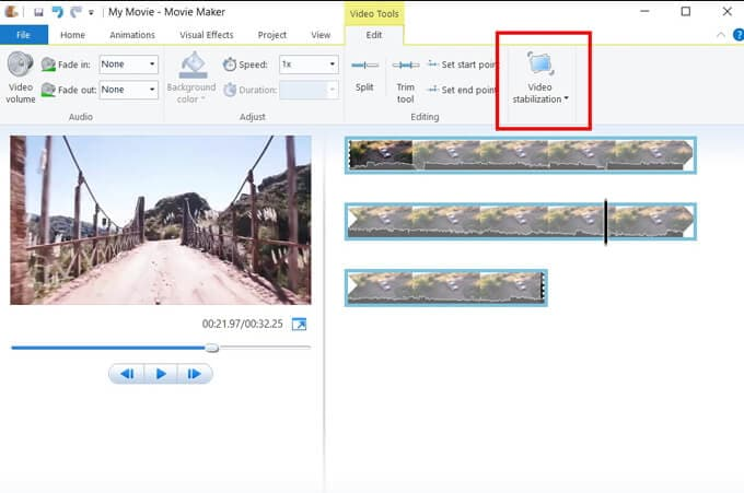 Windows Movie Maker Vdieo stabilization