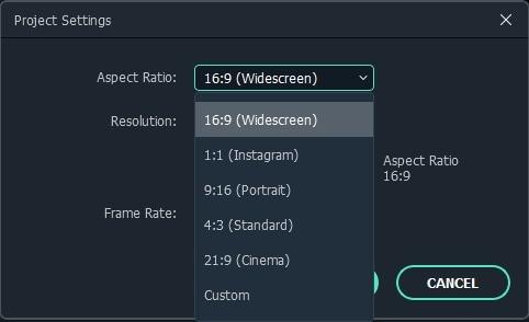 wondershare filmora project settings